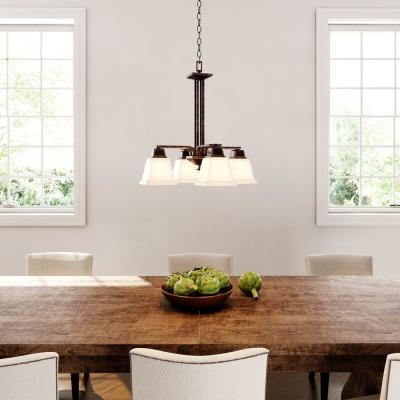North Park 4-Light Venetian Bronze Chandelier with Etched Glass Shade