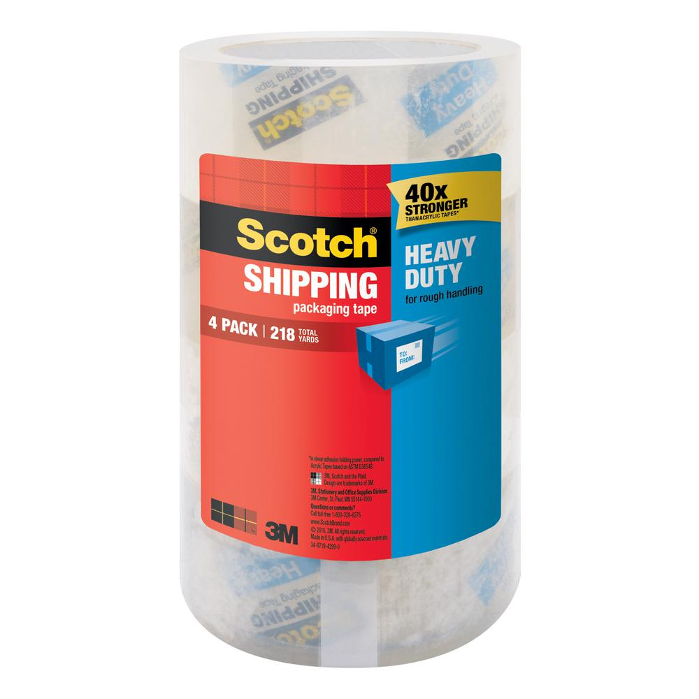 Scotch 1.88 in. x 54.6 yds. Heavy Duty Shipping Packaging Tape