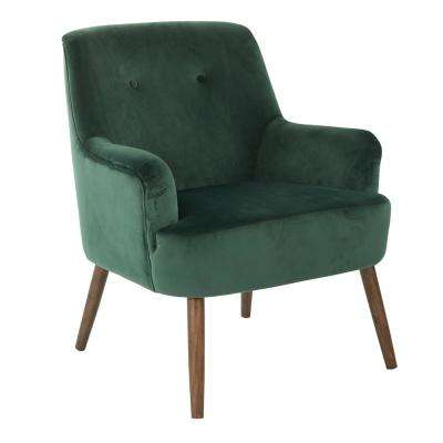 Chatou Emerald Green Fabric Chair with Cordovan Legs