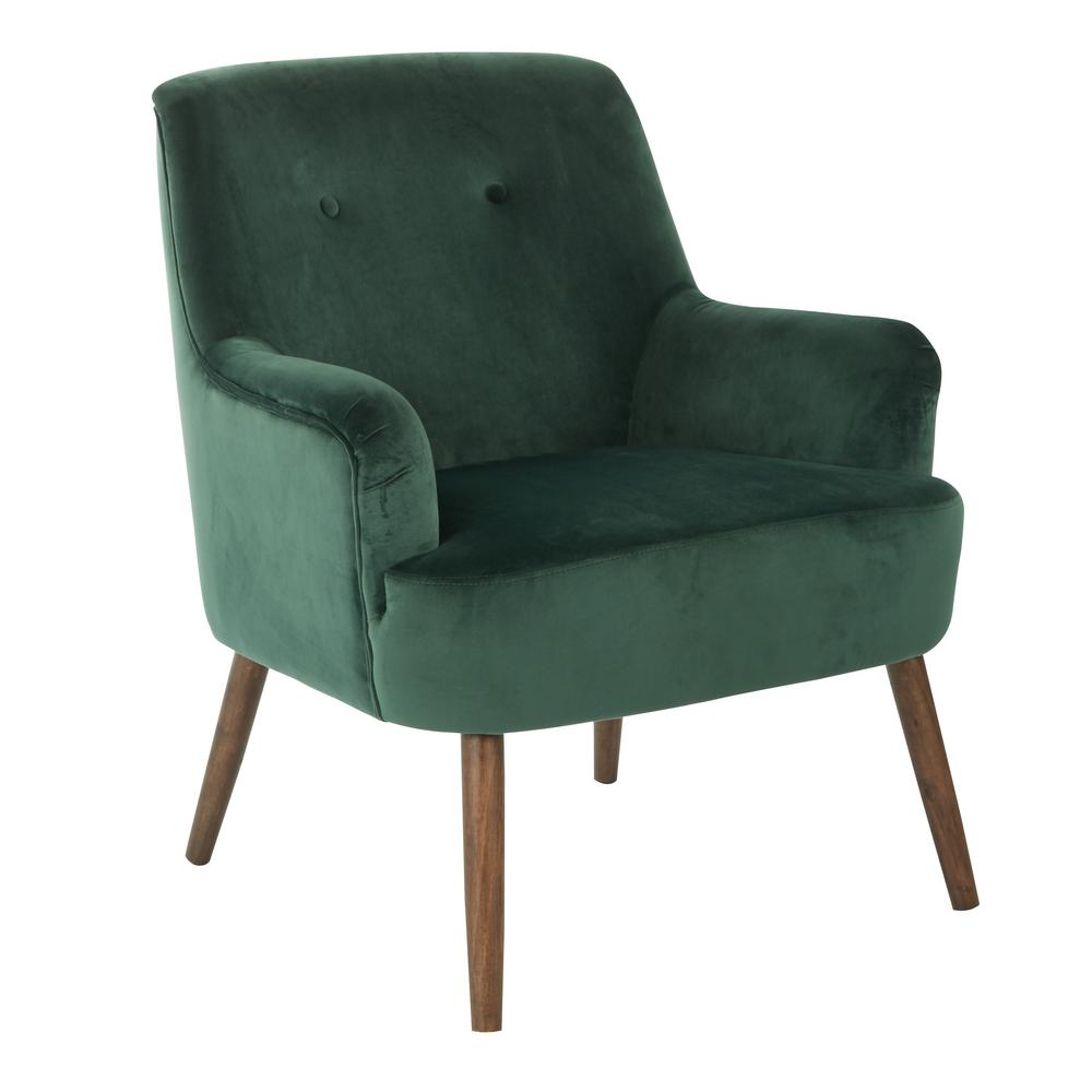 OSP Home Furnishings Chatou Emerald Green Fabric Chair with Cordovan Legs, Emerald Polyester The mid-century style comes to life with the Chatou Chair from Avenue Six. A spot for you and your guests to relax that's easy to assemble. Solid wood legs keep this chair stable while velvet fabrics and a button tufted back keep you comfortable. Color: Emerald Polyester.