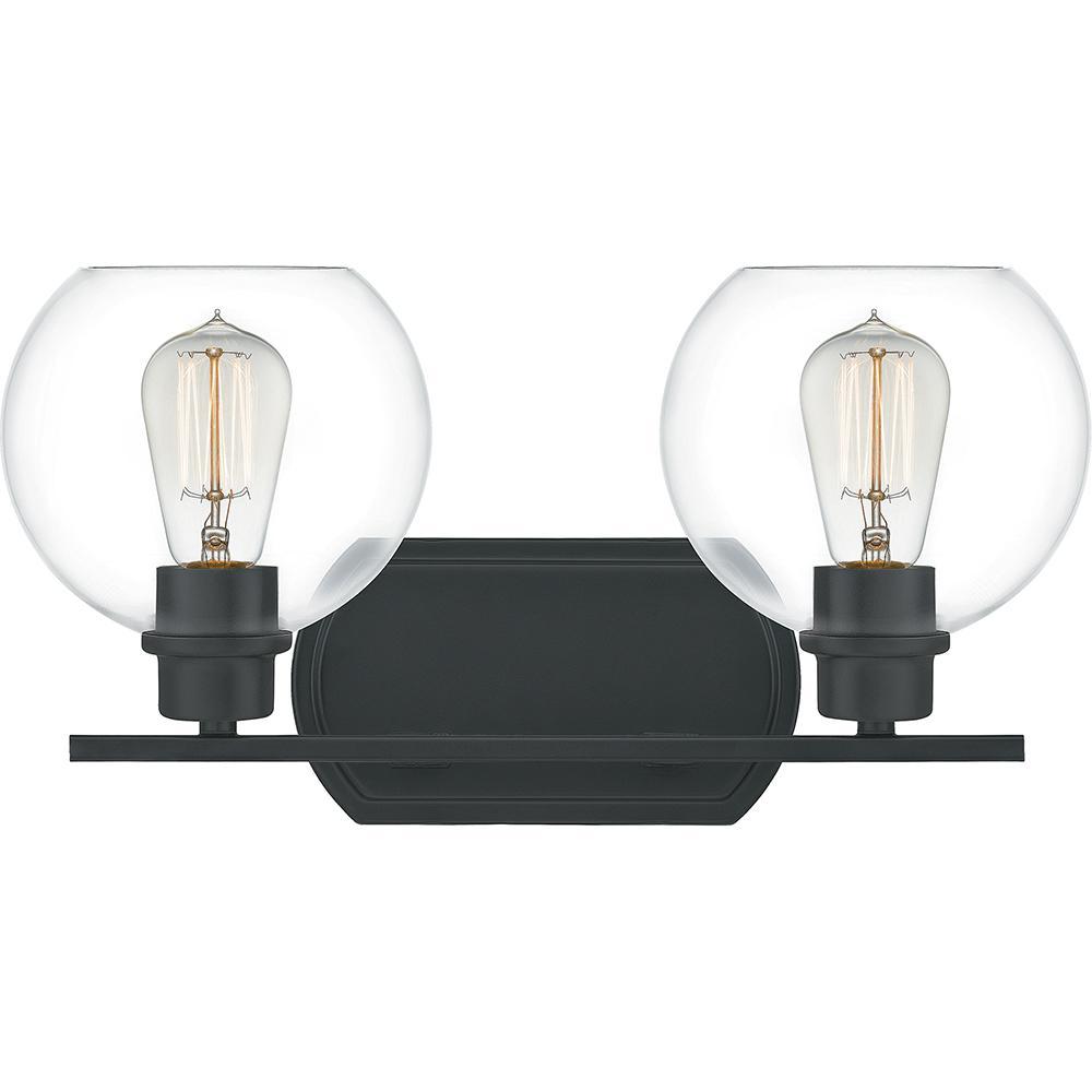 Pruitt 2-Light Matte Black Vanity Light
