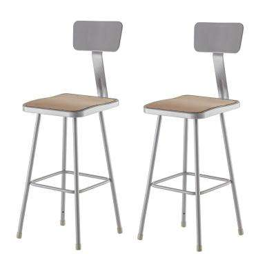 30 in. Grey Heavy Duty Square Seat Steel Stool with Backrest (2-Pack)