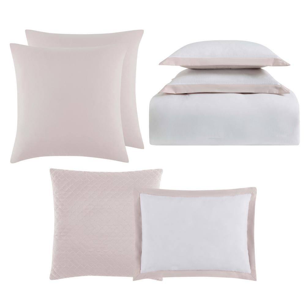 comforter white piece blue and king set villa