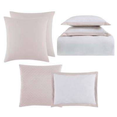 Everyday Hotel Border White and Blush 7-Piece Full/Queen Comforter Set