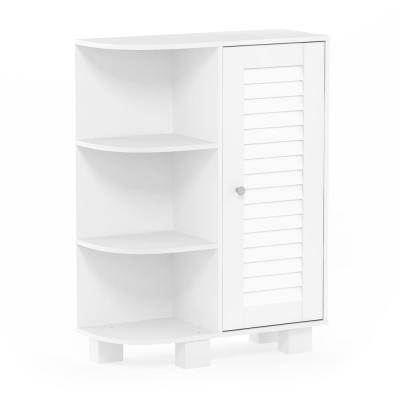 Indo White Storage Shelf with Louver Door Cabinet
