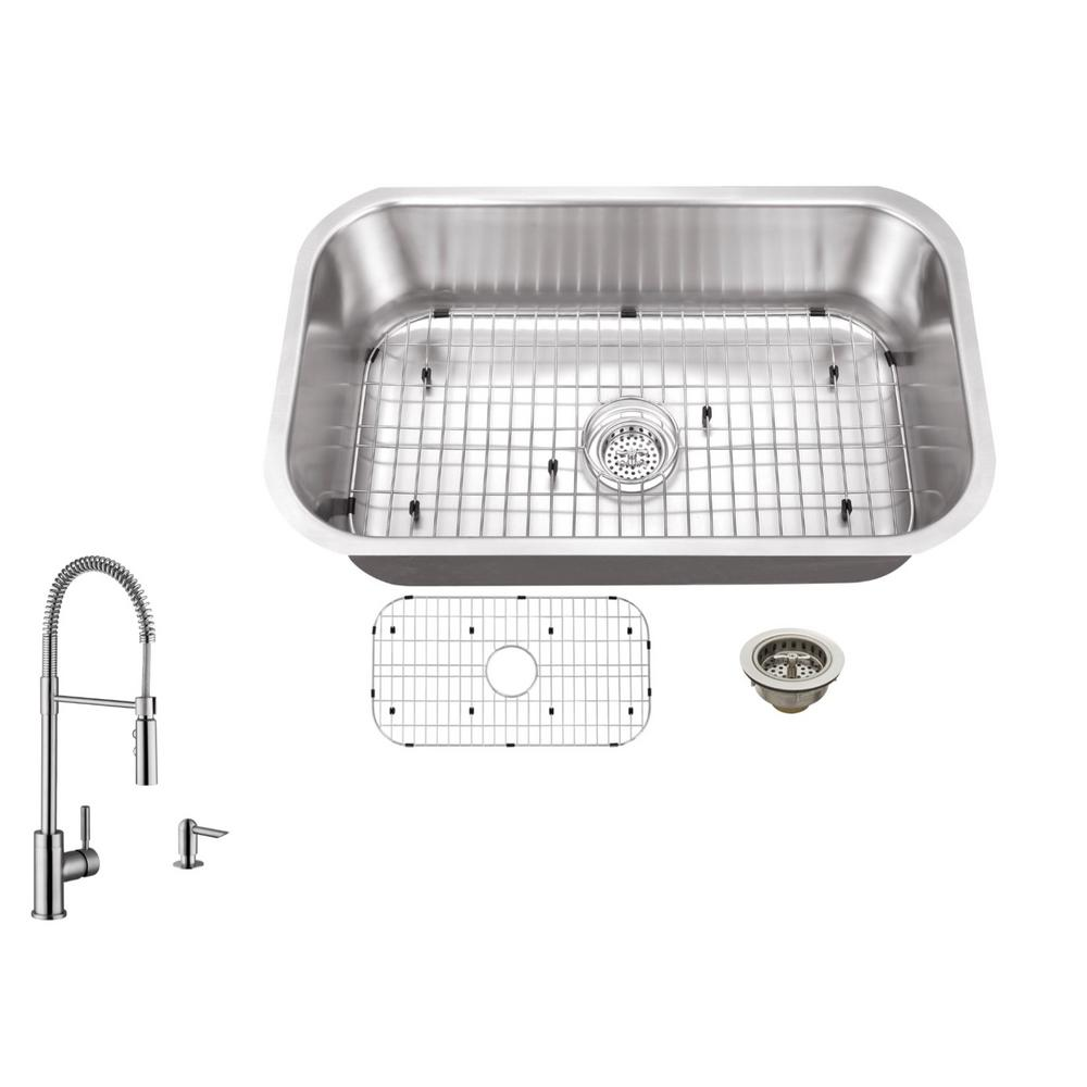 ipt sink company undermount 30 in  18 gauge stainless steel kitchen sink in brushed stainless with pull out kitchen faucet ipt3018p7556   the home depot ipt sink company undermount 30 in  18 gauge stainless steel      rh   homedepot com