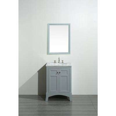 New York 24 in. W x 21.6 in. D x 32.6 in. H Vanity in Grey with Carrara Marble Vanity Top in White with White Basin