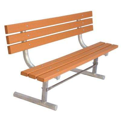 6 ft. Cedar Commercial Park Recycled Plastic Bench with Back Surface Mount