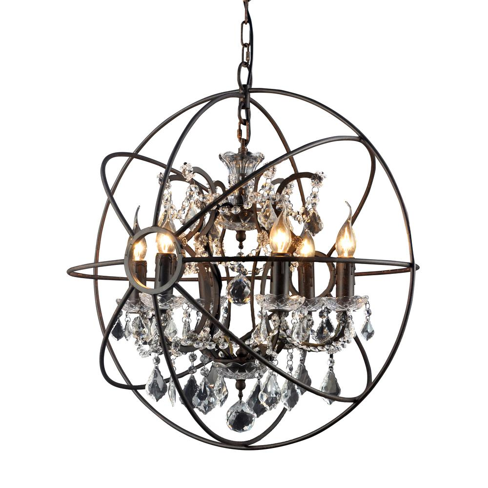 Y decor hannah 6 light rustic black chandelier lz2080 6rr the home y decor hannah 6 light rustic black chandelier aloadofball Images