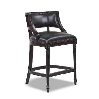 Paris 26 in. Farmhouse Counter Height Bar Stool with Backrest, Vintage Black Brown Faux Leather