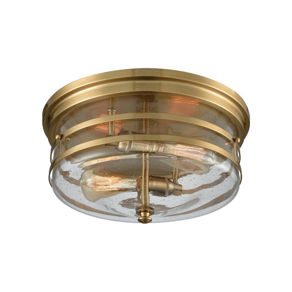 Port O' Connor 2-Light Satin Brass with Seedy Glass Flushmount