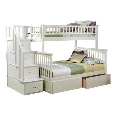 Columbia Staircase White Twin Over Full Bunk Bed with 2-Urban Bed Drawers