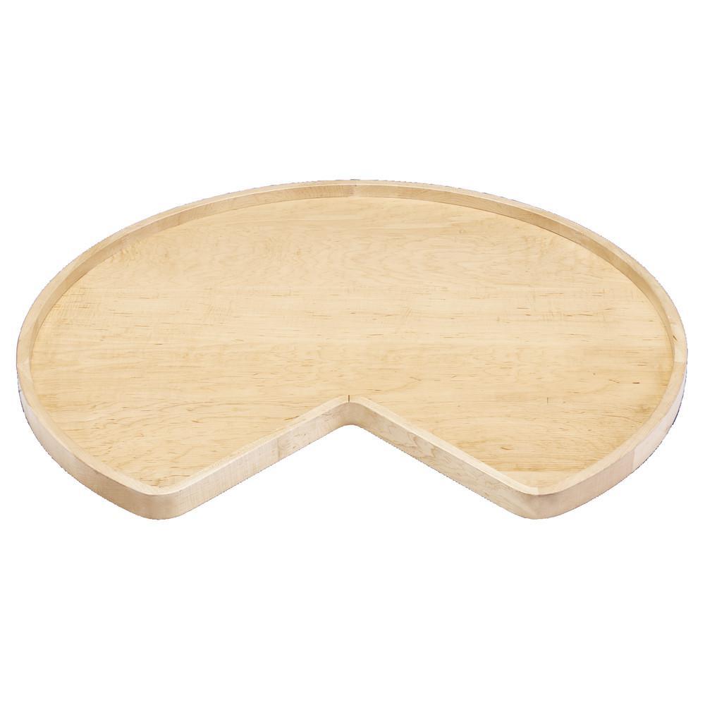 2 in. H x 28 in. W x 28 in. D Wood Kidney Shape Lazy Susan Single Shelf with Swivel Bearing
