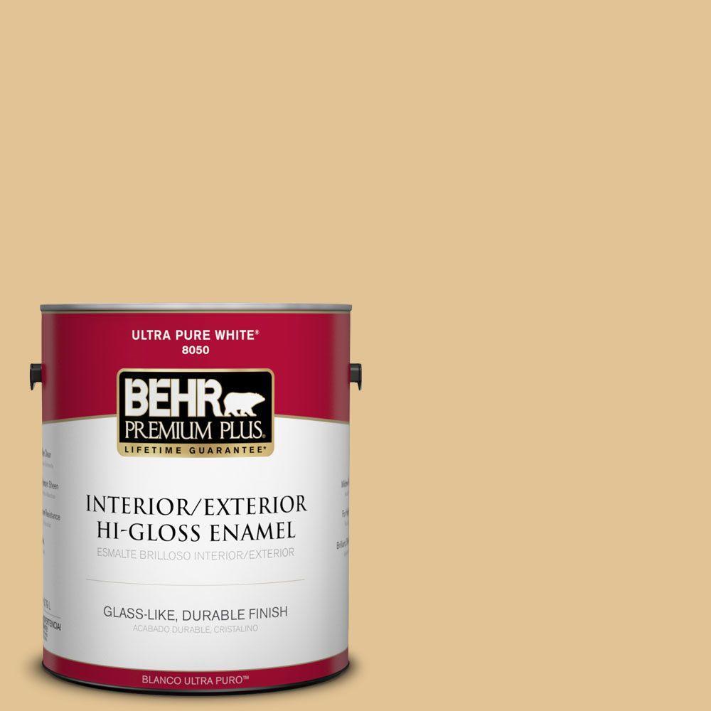 BEHR Premium Plus 1-gal. #310E-3 Ripe Wheat Hi-Gloss Enamel Interior/Exterior Paint