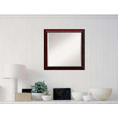 Rubino Cherry Scoop Wood 23 in. x 23 in. Traditional Framed Mirror