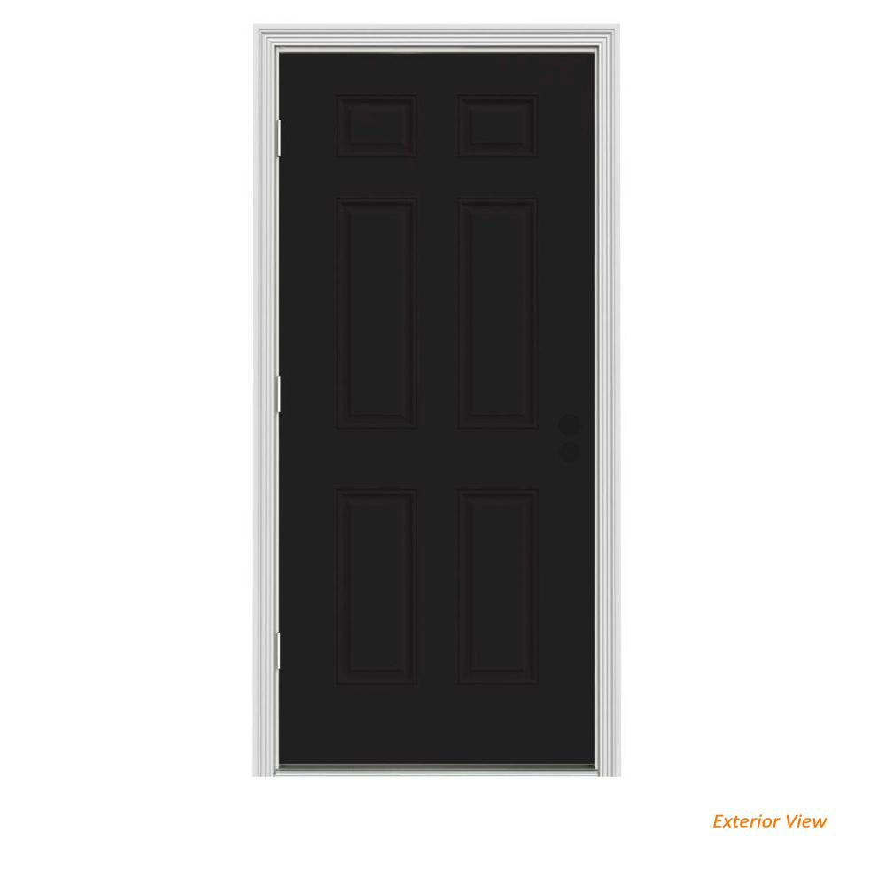 30 in. x 80 in. 6-Panel Black Painted Steel Prehung Right-Hand