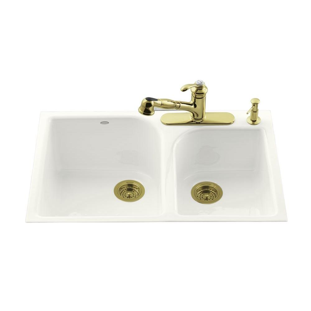 Executive Chef Tile-In Cast-Iron 33 in. 4-Hole Double Bowl Kitchen Sink