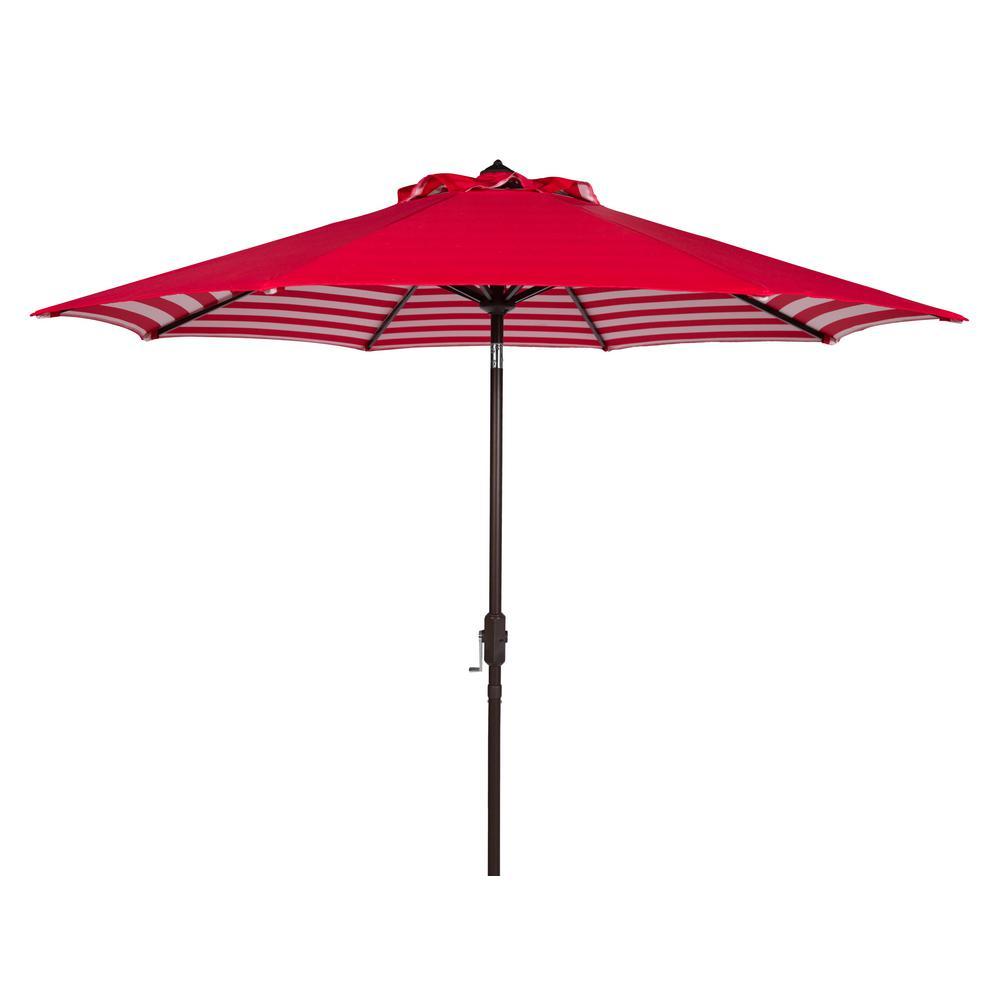 Athens 9 ft. Aluminum Market Auto Tilt Patio Umbrella in Red/White