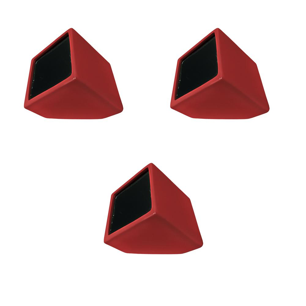 Cube 3-1/2 in. x 4 in. Red Ceramic Wall Planter (3-Piece)