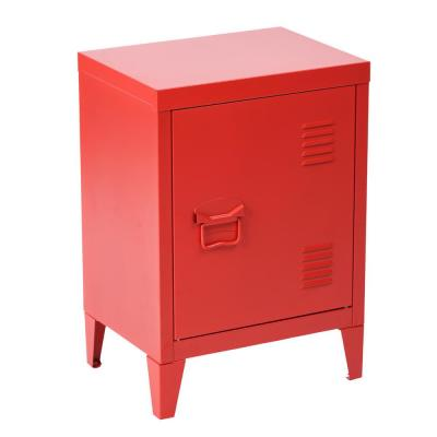 Graves Red Metal Cabinet Storage End Table Nightstand