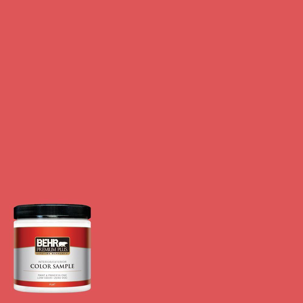 BEHR Premium Plus 8 oz. #150B-6 Firecracker Flat Interior/Exterior Paint and Primer in One Sample