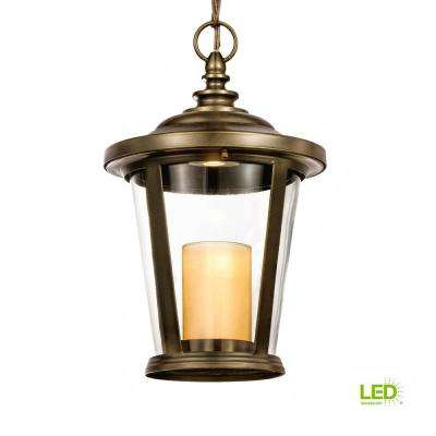 Bellingham Oil-Rubbed Bronze Outdoor LED Medium Pendant with Clear Glass and Amber Glass Candle