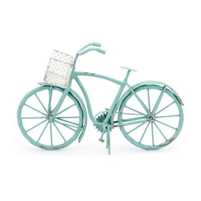 Retro Style Blue and White Decorative Iron Bike with Wired Basket