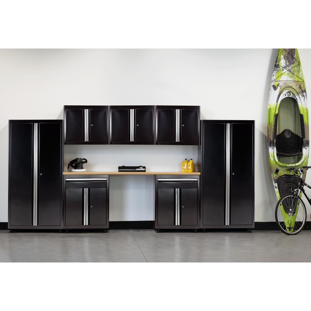 75 in. H x 162 in. W x 18 in. D Welded Steel Garage Cabinet Set in Black (8-Piece)