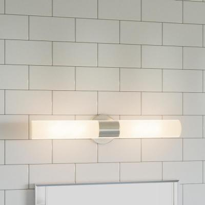 Arla 2-Light Brushed Nickel Vanity Light with Tube Etched Glass