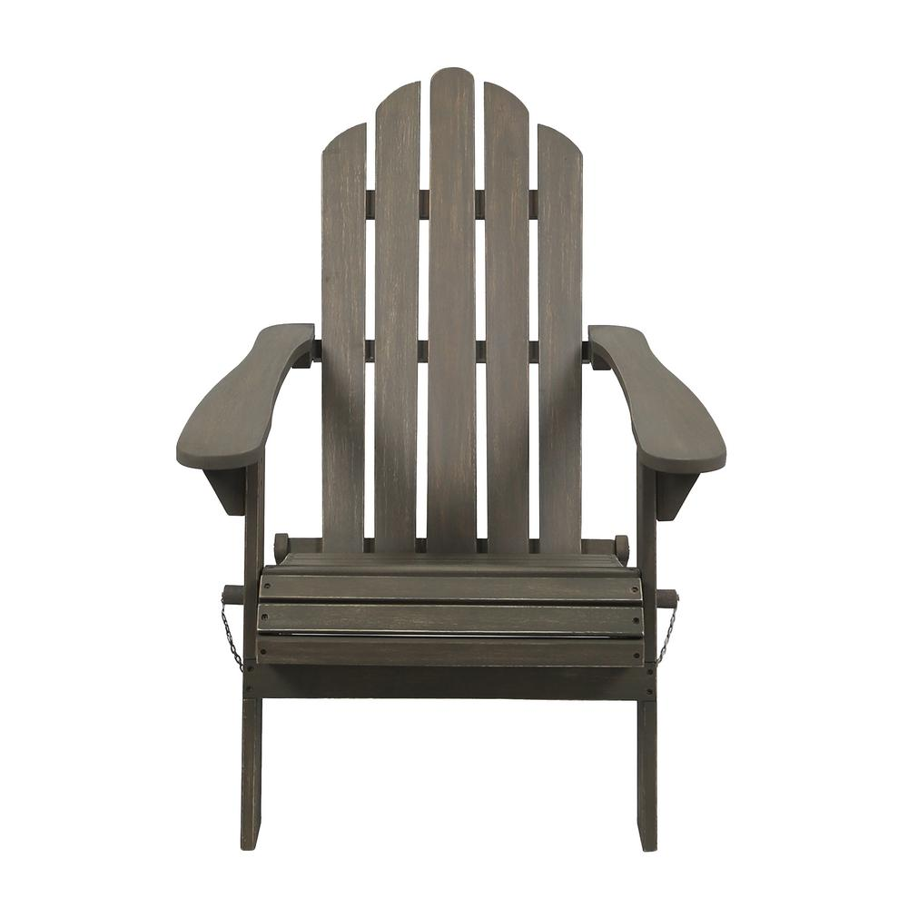 Noble House Hollywood Gray Folding Wood Adirondack Chair