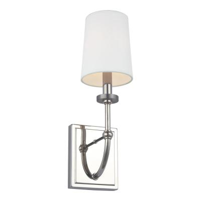 Stowe 4.75 in. Polished Nickel Sconce with White Parchment Shade