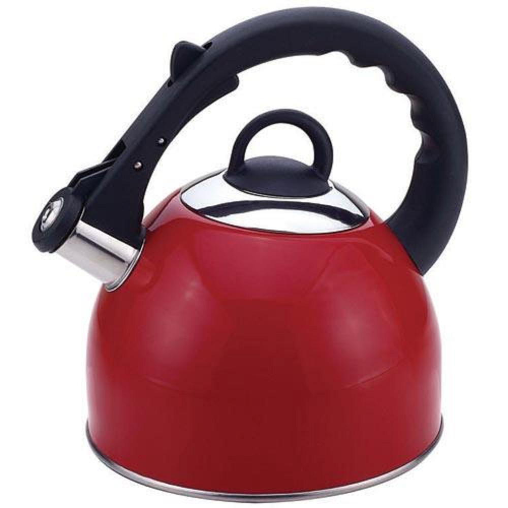 Stainless Steel Whistling Tea Kettle in Red Exterior 2.5 Qt.