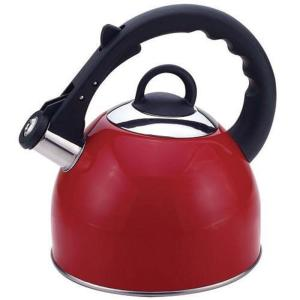 Click here to buy CULINARY EDGE Stainless Steel Whistling Tea Kettle in Red Exterior 2.5 Qt. by CULINARY EDGE.
