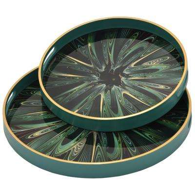 1.5 in. Green Glass Round Decorative Tray (Set of 2)