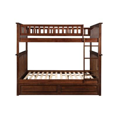 Columbia Bunk Bed Full over Full with Twin Raised Panel Trundle Bed in Walnut