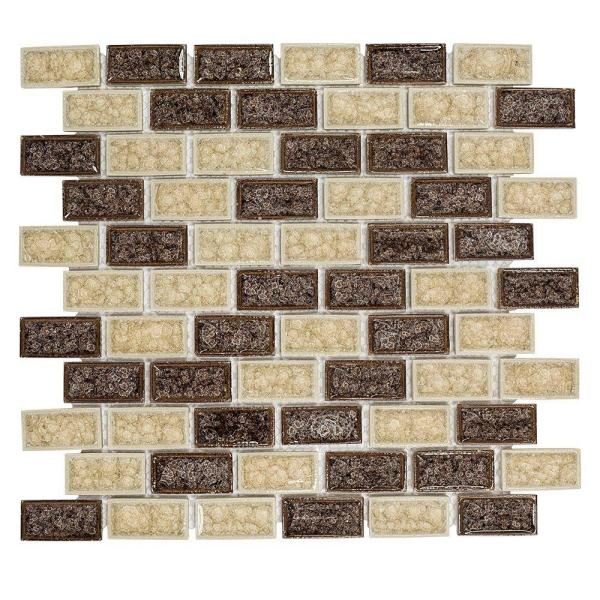Hazelnut Butter Crackle Cream 12 in. x 11.5 in. Interlocking Glossy Ceramic and Glass Mosaic Tile (0.958 sq. ft. / Each)