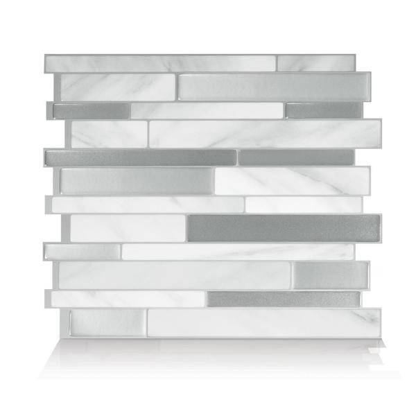Milano Carrera Grey 11.55 in. W x 9.65 in. H Peel and Stick Self-Adhesive Decorative Mosaic Wall Tile Backsplash