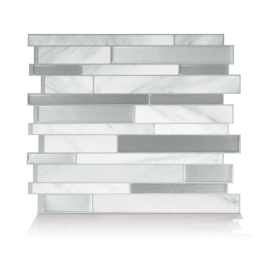 Milano Carrera Multi 11.55 in. W x 9.64 in. H Peel and Stick Decorative Mosaic Wall Tile Backsplash (4-Pack)