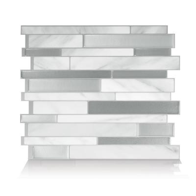 Milano Carrera Multi 11.55 in. W x 9.64 in. H Peel and Stick Decorative Mosaic Wall Tile Backsplash (4-Pack)