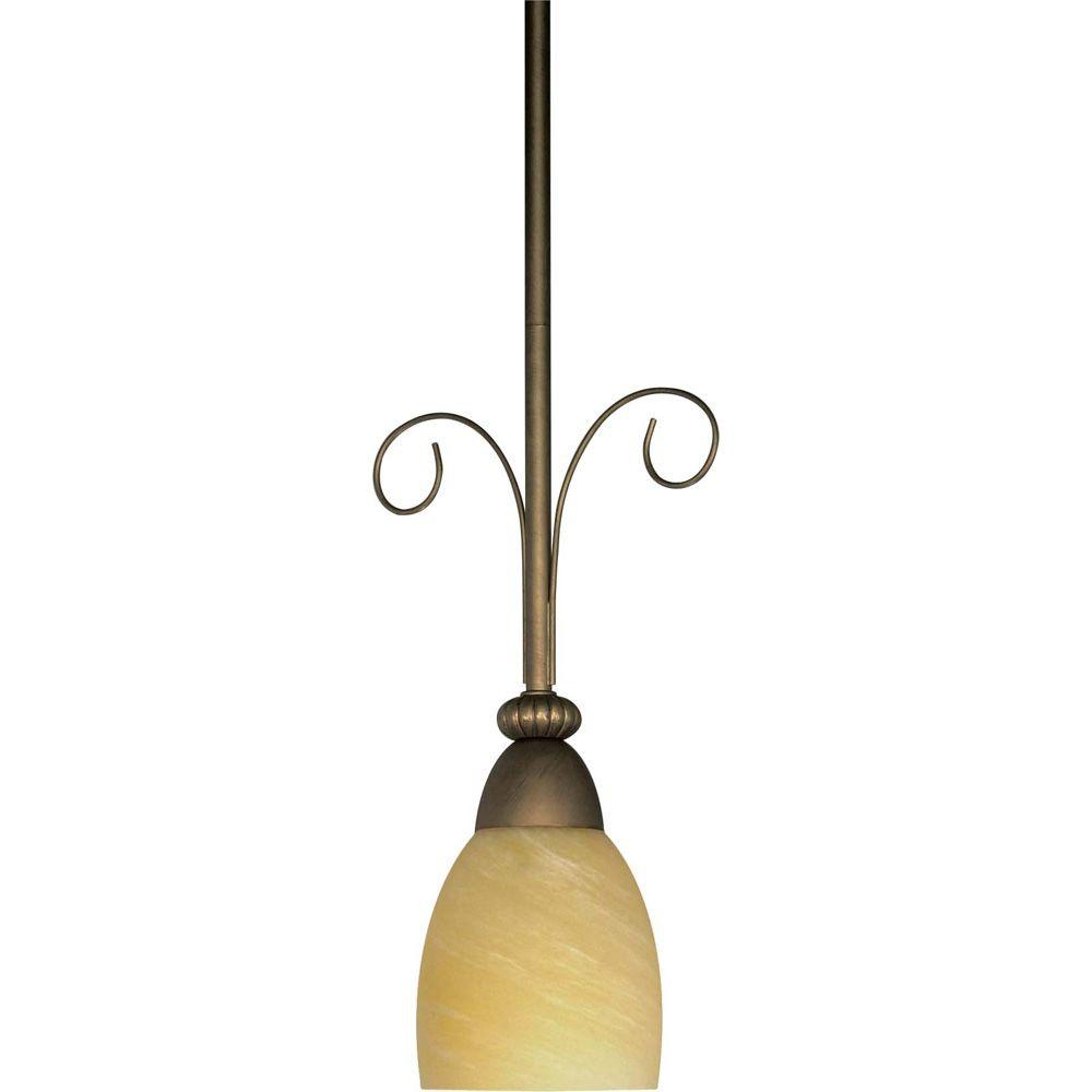 Glomar Vanguard 1-Light Gold Mini Pendant with Hang-Straight Canopy Canopy