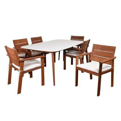 San Jose 7-Piece Eucalyptus Rectangular Patio Dining Set with Stripped Cushions