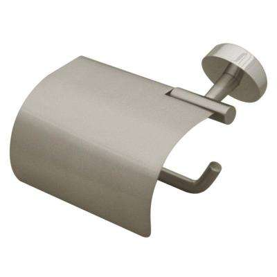 Hooded Single Post Toilet Paper Holder in Brushed Nickel