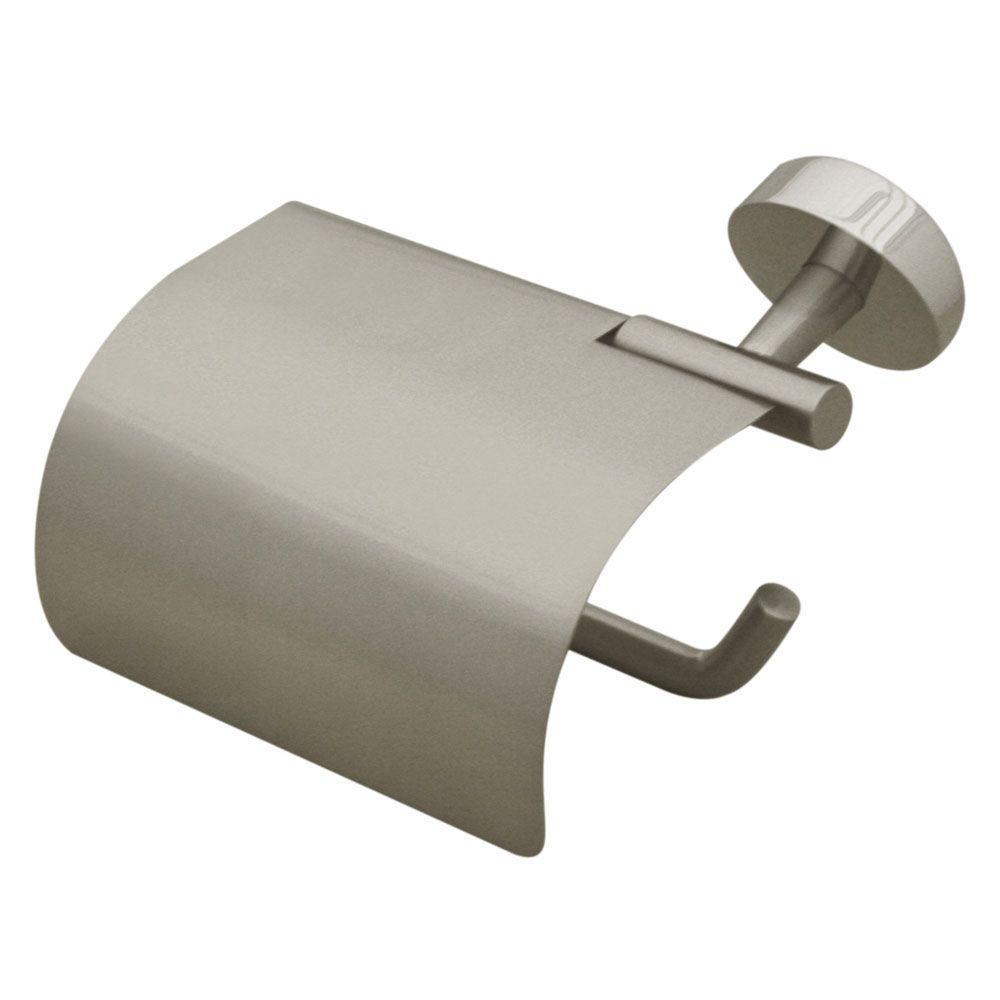 Hooded Single Post Toilet Paper Holder in Brushed Nickel