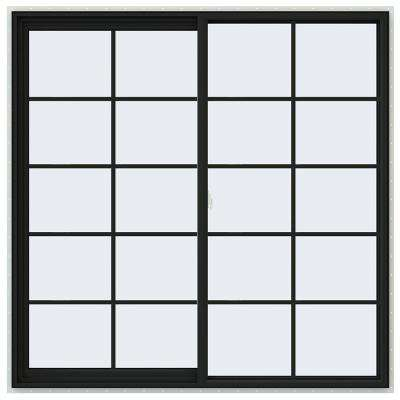 60 in. x 60 in. V-2500 Series Bronze FiniShield Vinyl Right-Handed Sliding Window with Colonial Grids/Grilles