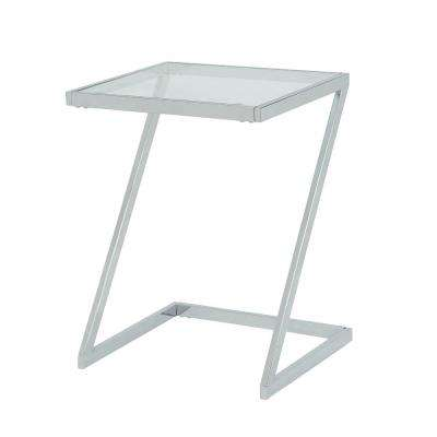 Aurora Chrome Z Base Glass Top Accent Table