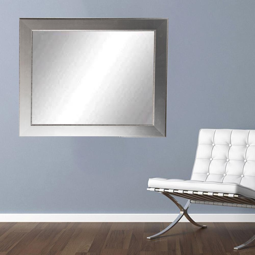 Silver accent black framed mirror bm011l2 the home depot for Silver framed mirror