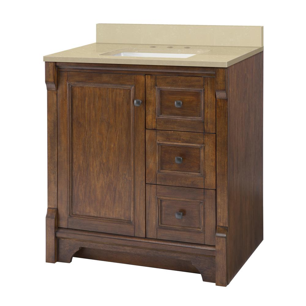 Home Decorators Collection Creedmoor 31 in. W x 22 in D Vanity in Walnut with Engineered Marble Vanity Top in Crema Limestone with White Sink was $833.0 now $583.1 (30.0% off)