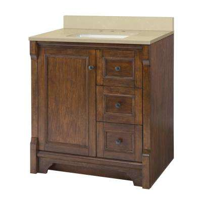 Creedmoor 31 in. W x 22 in D Vanity in Walnut with Engineered Marble Vanity Top in Crema Limestone with White Sink