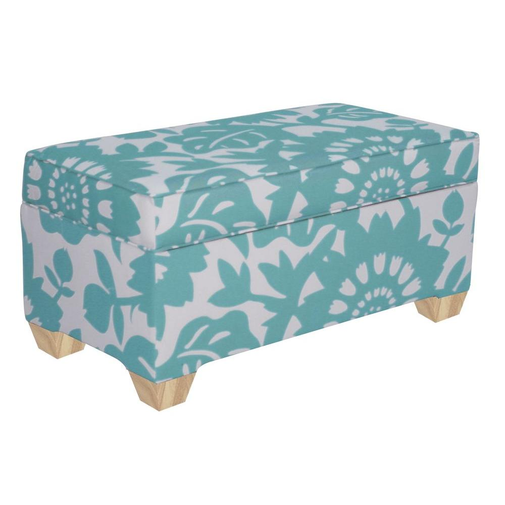 Home Decorators Collection Chatham Upholstered Storage Bench in Surf