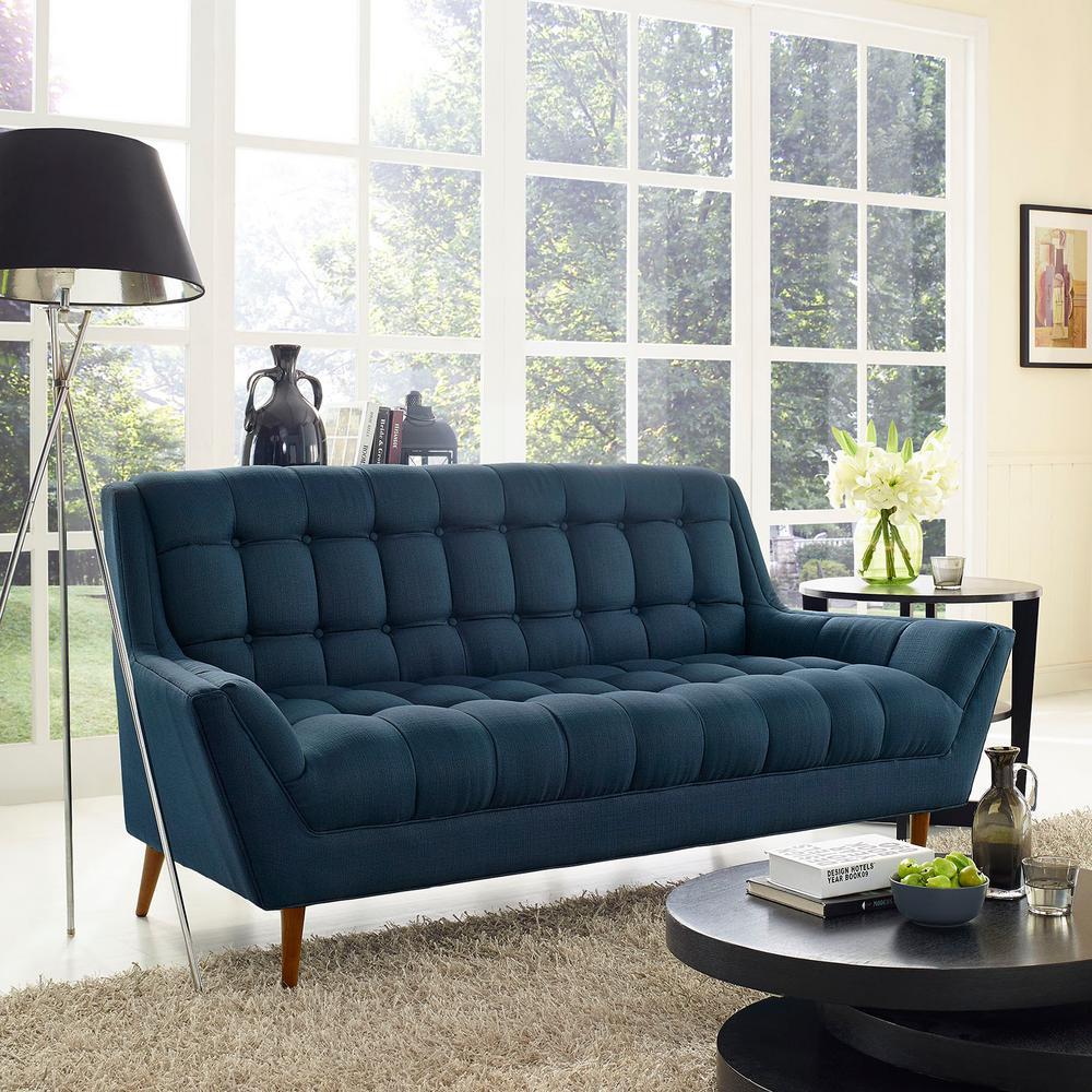 Response Azure Upholstered Fabric Loveseat